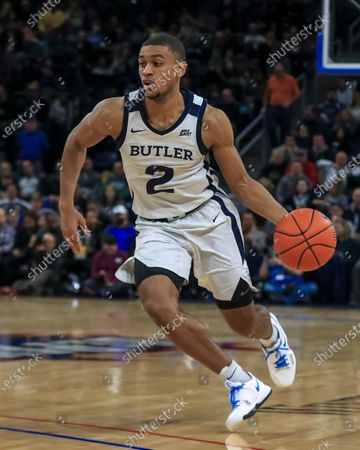 Saturday  - Butler Bulldogs guard Aaron Thompson (2) drives towards the basket during the NCAA game between the Butler Bulldogs and the DePaul University Blue Demons at Wintrust Arena in Chicago IL. Gary E