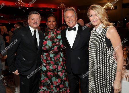 Ted Sarandos, Nicole Avant, Don Johnson, Laura Dern. Ted Sarandos, from left, Nicole Avant, Don Johnson, and Laura Dern attend the 31st Annual Producers Guild Awards at the Hollywood Palladium, in Los Angeles