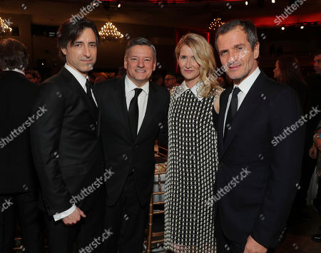 Noah Baumbach, Ted Sarandos, Laura Dern, David Heyman. Noah Baumbach, from left, Ted Sarandos, Laura Dern, and David Heyman attend the 31st Annual Producers Guild Awards at the Hollywood Palladium, in Los Angeles