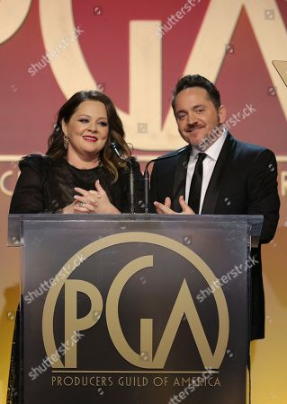Melissa McCarthy, Ben Falcone. Melissa McCarthy and Ben Falcone speak at the 31st Annual Producers Guild Awards at the Hollywood Palladium, in Los Angeles