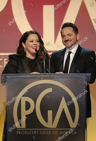 Stock Image of Melissa McCarthy, Ben Falcone. Melissa McCarthy and Ben Falcone speak at the 31st Annual Producers Guild Awards at the Hollywood Palladium, in Los Angeles
