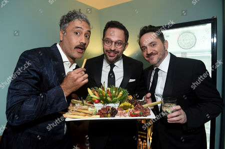 Stock Picture of Taika Waititi, Nick Kroll, Ben Falcone. Taika Waititi, from left, Nick Kroll, and Ben Falcone attend the 31st Annual Producers Guild Awards at the Hollywood Palladium, in Los Angeles
