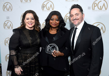 Melissa McCarthy, Octavia Spencer, Ben Falcone. Melissa McCarthy, from left, Octavia Spencer, winner of the Visionary Award, and Ben Falcone attend the 31st Annual Producers Guild Awards at the Hollywood Palladium, in Los Angeles
