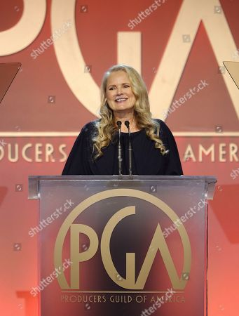 Stock Picture of 2020 Producers Guild Awards Executive Producer Suzanne Todd speaks at the 31st Annual Producers Guild Awards at the Hollywood Palladium, in Los Angeles
