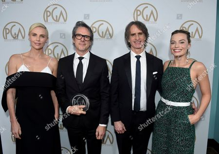 Charlize Theron, Charles Randolph, Jay Roach, Margot Robbie. Charlize Theron, from left, Charles Randolph, and Jay Roach, winners of the Stanley Kramer Award, pose with Margot Robbie at the 31st Annual Producers Guild Awards at the Hollywood Palladium, in Los Angeles