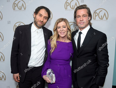 Jeremy Kleiner, Dede Garner, Brad Pitt. Jeremy Kleiner, from left, Dede Garner and Brad Pitt, David O. Selznick award honorees, at the 31st Annual Producers Guild Awards at the Hollywood Palladium, in Los Angeles