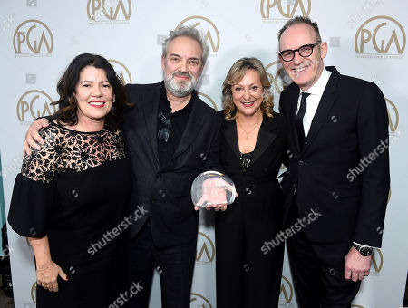 Pippa Harris, Sam Mendes, Jayne?Ann Tenggren, Callum McDougall. Pippa Harris, from left, Sam Mendes, Jayne-Ann Tenggren, and Callum McDougall, winners of the Darryl F. Zanuck Award for outstanding producer of theatrical motion pictures, attend the 31st Annual Producers Guild Awards at the Hollywood Palladium, in Los Angeles