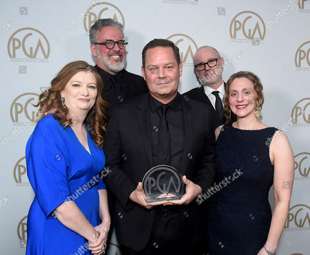 "Adam McKay. The producers of ""Succession"", winners of the Norman Felton award for outstanding producers of episodic television - drama, attend the 31st Annual Producers Guild Awards at the Hollywood Palladium, in Los Angeles"