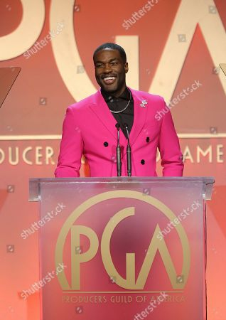 Yahya Abdul-Mateen II speaks at the 31st Annual Producers Guild Awards at the Hollywood Palladium, in Los Angeles