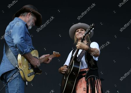 Kasey Chambers and her father, Bill Chambers (L) perform during Cold Chisel's The Blood Moon Tour 2020 at the Tamworth Country Music Festival, in Tamworth, New South Wales, Australia, 19 January 2020. Australia's largest music festival runs from 17 to 26 January 2020.