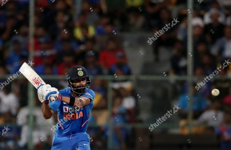 Stock Picture of India's captain Virat Kohli bats during the third one-day international cricket match between India and Australia in Bangalore, India