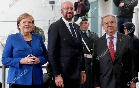 (L-R) German Chancellor Angela Merkel, European Council President Charles Michel, and Secretary General of the United Nations (UN), Antonio Guterres during the International Libya Conference in Berlin, Germany, 19 January 2020. By means of the 'Berlin Process', German government seeks to support the peace efforts of the United Nations (UN) to bring about an end to the conflict in Libya. Following the renewed outbreak of hostilities in April 2019, UN presented a plan to stop further military escalation and resume an intra-Libyan process of reconciliation.