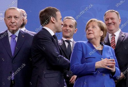 (L-R) Turkish President Recep Tayyip Erdogan, President of the EU Council Charles Michel, French President Emmanuel Macron, German Foreign Minister Heiko Maas, German Chancellor Angela Merkel and US Secretary of State Mike Pompeo prior to the family picture for the International Libya Conference in Berlin, Germany, 19 January 2020. By means of the 'Berlin Process', German government seeks to support the peace efforts of the United Nations (UN) to bring about an end to the conflict in Libya. Following the renewed outbreak of hostilities in April 2019, UN presented a plan to stop further military escalation and resume an intra-Libyan process of reconciliation.