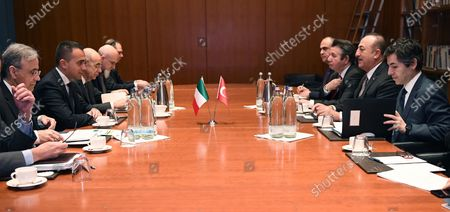 Italian Minister for Foreign Affairs Luigi Di Maio (2-L) and Turkish Foreign Minister Mavlut Cavusoglu (2-R) during their meeting in Berlin, Germany, 19 January 2020, on the sidelines of the International Libya Conference. The summit, which takes place in Berlin and sees the participation of various world leaders, including Internationally-recognized Prime Minister Fayez al-Serraj and renegade General Khalifa Haftar, will try to begin a process to reconcile the two Libyan rival leaders.