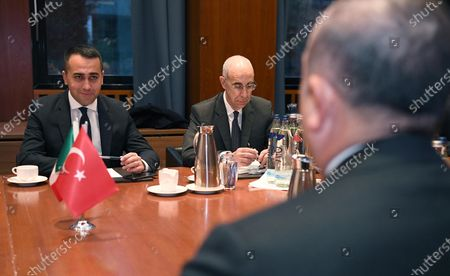 Italian Minister for Foreign Affairs Luigi Di Maio (L) and Turkish Foreign Minister Mavlut Cavusoglu during their meeting in Berlin, Germany, 19 January 2020, on the sidelines of the International Libya Conference. The summit, which takes place in Berlin and sees the participation of various world leaders, including Internationally-recognized Prime Minister Fayez al-Serraj and renegade General Khalifa Haftar, will try to begin a process to reconcile the two Libyan rival leaders.