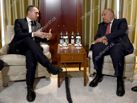 Italian Minister for Foreign Affairs Luigi Di Maio (L) and Egyptian Minister for Foreign Affairs Sameh Shoukry (R) during their meeting in Berlin, Germany, 19 January 2020, on the sidelines of the International Libya Conference. The summit, which takes place in Berlin and sees the participation of various world leaders, including Internationally-recognized Prime Minister Fayez al-Serraj and renegade General Khalifa Haftar, will try to begin a process to reconcile the two Libyan rival leaders.