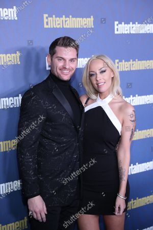 Stock Image of Randy Jay Burrell and Emily Dickinson pose on the red carpet at the Chateau Marmont for the Entertainment Weekly celebration hosting nominees for the Screen Actors Guild Awards in Los Angeles, California, USA, 18 January 2020. The SAG Awards will be presented 19, January 2020.