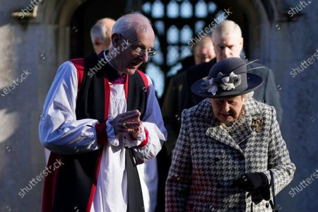Britain's Queen Elizabeth II (R) leaves after a service at St Mary the Virgin church, Hillington, Norfolk, Britain 19 January 2020. Buckingham Palace announced yesterday that Prince Harry, Duke of Sussex and Meghan, Duchess of Sussex will have their royal titles removed as they step back from royal duties.