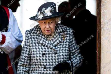 Britain's Queen Elizabeth II leaves after a service at St Mary the Virgin church, Hillington, Norfolk, Britain, 19 January 2020. Buckingham Palace announced yesterday that Prince Harry, Duke of Sussex and Meghan, Duchess of Sussex will have their royal titles removed as they step back from royal duties.