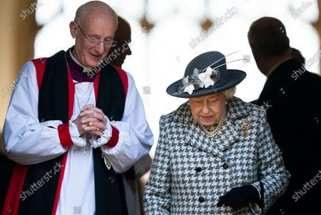 Britain's Queen Elizabeth II (R) leaves after a service at St Mary the Virgin church, Hillington, Norfolk, Britain, 19 January 2020. Buckingham Palace announced yesterday that Prince Harry, Duke of Sussex and Meghan, Duchess of Sussex will have their royal titles removed as they step back from royal duties.