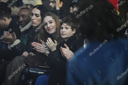 French singer/songwriter Heloise Letissier, better known under her stage name Christine and the Queens (R) applauds after the presentation of the Fall/ Winter 2020/2021 Ready to Wear collection by Spanish designer Alejandro Gomez Palomo for Palomo Spain fashion house during the Paris Fashion Week, in Paris, France, 19 January 2020. The presentation of the men's collections runs from 14 to 19 January.