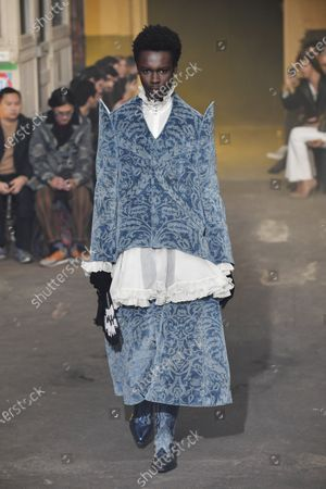 A model presents a creation from the Fall/ Winter 2020/21 Ready to Wear collection by Spanish designer Alejandro Gomez Palomo for Palomo Spain fashion house during the Paris Fashion Week, in Paris, France, 19 January 2020. The presentation of the men's collections runs from 14 to 19 January.