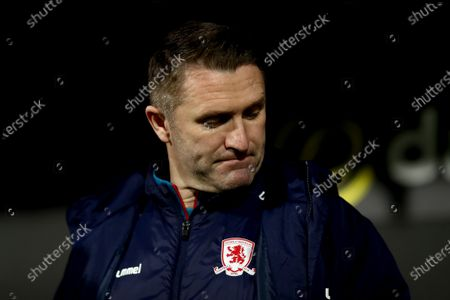 A dejected Middlesbrough assistant manager Robbie Keane