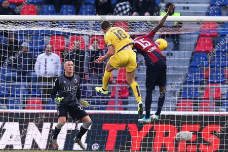 Verona's Fabio Borini (C) scores the 1-1 equalizer during the Italian Serie A soccer match between Bologna FC and Hellas Verona at the Renato Dall'Ara stadium in Bologna, Italy, 19 January 2020.