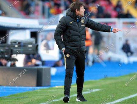 Stock Image of Inter's head coach Antonio Conte reacts during the Italian Serie A soccer match between US Lecce and Inter Milan at the Via del Mare stadium in Lecce, Italy, 19 January 2020.