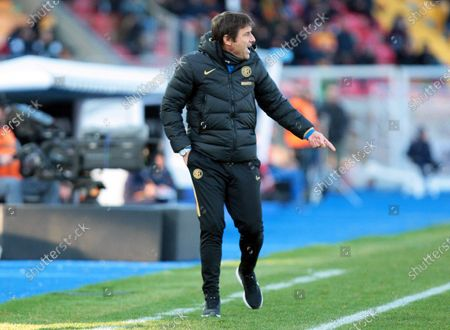 Stock Photo of Inter's head coach Antonio Conte reacts during the Italian Serie A soccer match between US Lecce and Inter Milan at the Via del Mare stadium in Lecce, Italy, 19 January 2020.