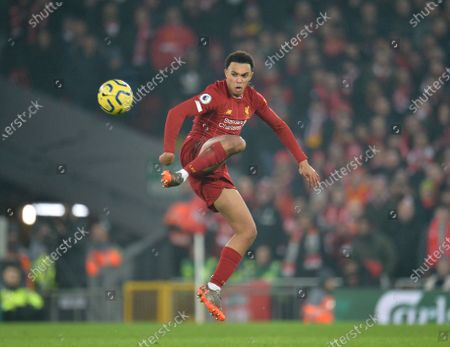Liverpool's Trent Alexander Arnold in action  during the English Premier League soccer match between Liverpool FC and Manchester United held at Anfield in Liverpool, Britain, 19 January 2020.