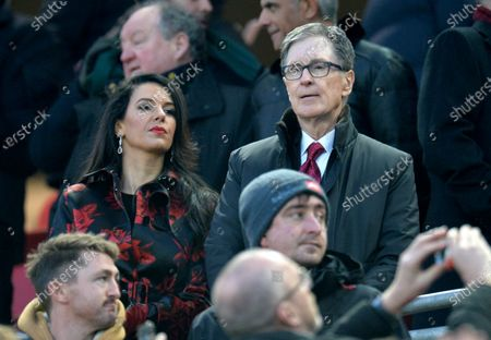 Liverpool's owner John W. Henry (R) and his wife Linda Pizzuti (L) watch the English Premier League soccer match between Liverpool FC and Manchester United held at Anfield in Liverpool, Britain, 19 January 2020.