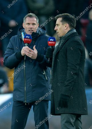 Former Liverpool player Jamie Carragher (L) and former Manchester United player Gary Neville (R) ahead of the English Premier League soccer match between Liverpool FC and Manchester United held at Anfield in Liverpool, Britain, 19 January 2020.