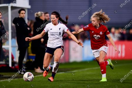 Sophie Bradley-Auckland of Liverpool Women is marked by Katie Robinson of Bristol City