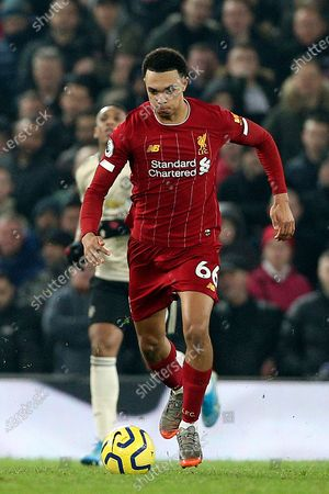 Liverpool defender Trent Alexander-Arnold (66) during the Premier League match between Liverpool and Manchester United at Anfield, Liverpool