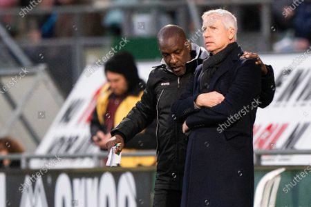Stock Picture of Alan Pardew (R), head coach of ADO The Hague, and his assistant Chris Powell during the Dutch Eredivisie match between ADO The Hague and RKC Waalwijk at Cars Jeans stadium on January 19, 2020 in The Hague, The Netherlands.