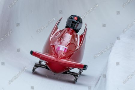Charlotte Longden GBR competes in the Bobsleigh Women's Monobob at St. Moritz Olympia Bob Run