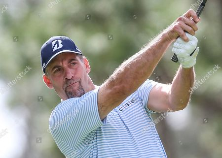 John Smoltz, former baseball pitcher, drives from the 2nd tee during during the final round of the Tournament of Champions LPGA golf tournament, in Lake Buena Vista, Fla