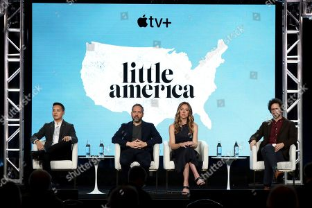 "Alan Yang, Lee Eisenberg, Sian Heder, Joshuah Bearman. Alan Yang, from left, Lee Eisenberg, Sian Heder and Joshuah Bearman speak at the ""Little America"" panel during the Apple+ TCA 2020 Winter Press Tour at the Langham Huntington, in Pasadena, Calif"