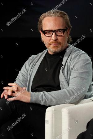 "Morten Tyldum speaks at the ""Defending Jacob,"" panel during the Apple+ TCA 2020 Winter Press Tour at the Langham Huntington, in Pasadena, Calif"