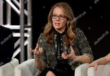 "Dana Fox speaks at the ""Home Before Dark"" panel during the Apple+ TCA 2020 Winter Press Tour at the Langham Huntington, in Pasadena, Calif"