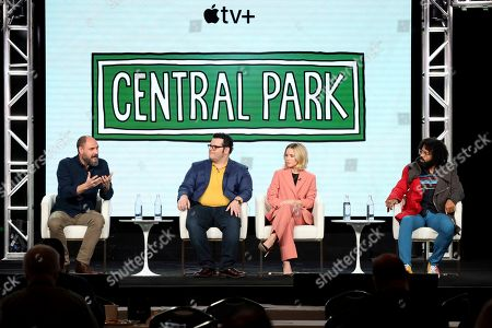"""Loren Bouchard, Josh Gad, Kristen Bell, Daveed Diggs. Loren Bouchard, from left, Josh Gad, Kristen Bell and Daveed Diggs speak at the """"Central Park"""" panel during the Apple+ TCA 2020 Winter Press Tour at the Langham Huntington, in Pasadena, Calif"""
