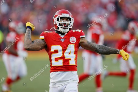 Kansas City Chiefs' Jordan Lucas reacts to a kick off stop during the second half of the NFL AFC Championship football game against the Tennessee Titans, in Kansas City, MO