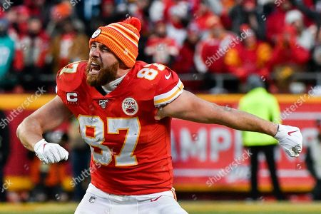 Kansas City Chiefs' Travis Kelce celebrates after the NFL AFC Championship football game against the Tennessee Titans, in Kansas City, MO. The Chiefs won 35-24 to advance to Super Bowl 54