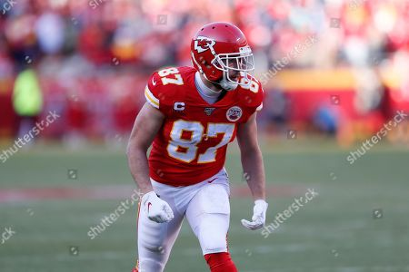 Kansas City Chiefs tight end Travis Kelce (87) during the first half of the NFL AFC Championship football game against the Tennessee Titans, in Kansas City, MO