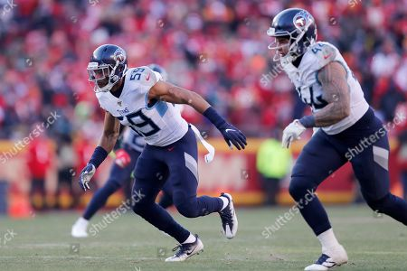 Stock Photo of Tennessee Titans inside linebacker Wesley Woodyard (59) during the second half of the NFL AFC Championship football game against the Kansas City Chiefs, in Kansas City, MO