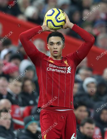 Trent Alexander-Arnold of Liverpool takes a throw-in