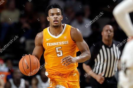 Tennessee guard Josiah-Jordan James plays against Vanderbilt in the second half of an NCAA college basketball game, in Nashville, Tenn