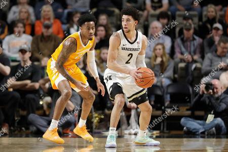Tennessee guard Jordan Bowden (23) defends against Vanderbilt guard Scotty Pippen Jr. (2) in the first half of an NCAA college basketball game, in Nashville, Tenn