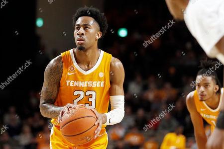Tennessee guard Jordan Bowden (23) plays against Vanderbilt in the first half of an NCAA college basketball game, in Nashville, Tenn